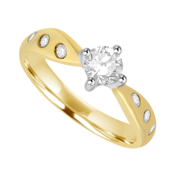 18ct Gold Diamond Solitaire Ring with Twist