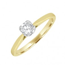 18ct Gold Solitaire Diamond 4-claw Engagaemt Ring