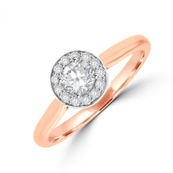 18ct Rose Gold Diamond Solitaire Halo Ring