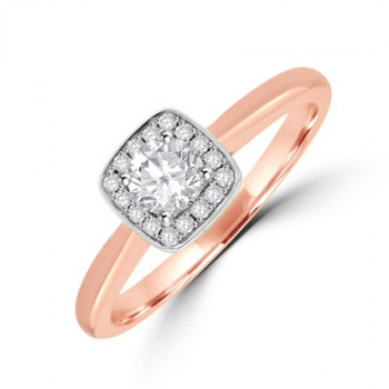 18ct Rose Gold Diamond Solitaire Cushion Halo Ring
