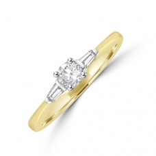18ct Gold Solitaire Diamond & Baguette Ring
