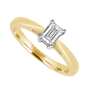 18ct Gold Emerald cut Diamond Solitaire Ring