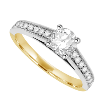 18ct Yellow & White Gold Solitaire Diamond Ring