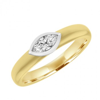 18ct Gold Marquise Diamond Solitaire Ring