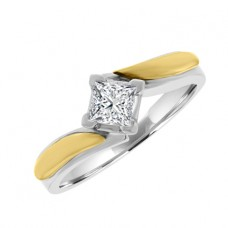 Platinum & 18ct Gold Princess Diamond Solitaire Ring