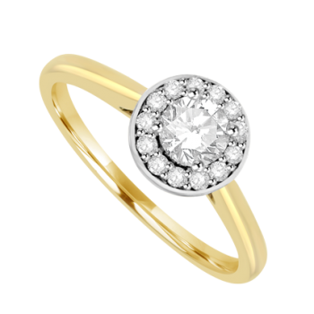 18ct Gold Solitaire Diamond Halo Ring