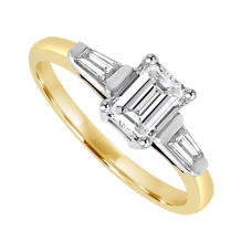 18ct Gold Emerald cut Diamond Ring with Tapered Baguettes