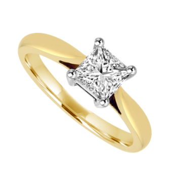 18ct Gold Princess cut .50ct Diamond Solitaire Ring