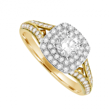 18ct Gold Diamond Solitaire Cluster Ring with split shoulders