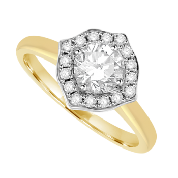 18ct Gold Solitaire Diamond Square Halo Ring