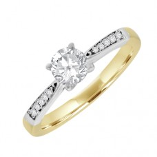 18ct Gold Solitaire GSi2 Diamond Graduated Shoulder Ring