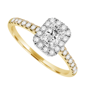 18ct Gold & Platinum Solitaire Phoenix cut Diamond Halo Ring