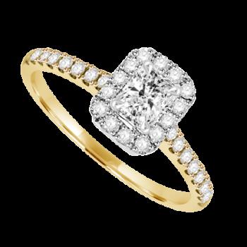 18ct Gold & Platinum Solitaire Phoenix cut Diamond Halo Ring