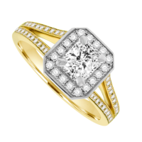 18ct Yellow Gold Phoenix Diamond Solitaire Halo Ring