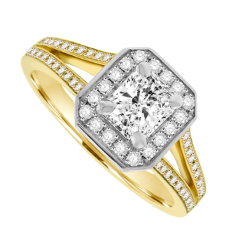 18ct Gold Phoenix Diamond Solitaire Halo Ring