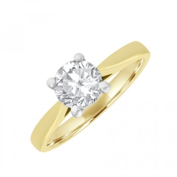 18ct Gold and Platinum Solitaire GSi2 Diamond Ring