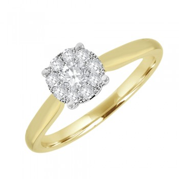 18ct Gold Diamond Solitaire Illusion Cluster Ring