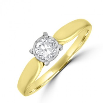 18ct Gold Diamond Solitaire Illusion Ring