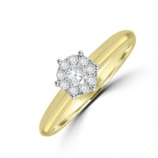 18ct Gold Diamond Solitaire Illusion Engagement Ring