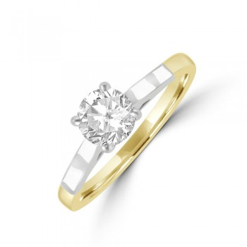 18ct Two Tone Gold Solitaire FSi1 Diamond Ring