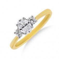 18ct Gold Three-stone Oval & Brilliant cut Diamond Ring