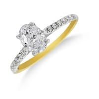 18ct Gold Oval cut GSi1 Diamond Solitaire Ring