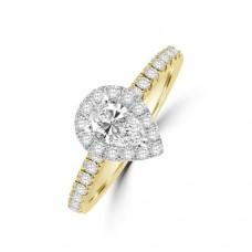 18ct Gold (Platinum) Solitaire Pear ESi1 Diamond Ring