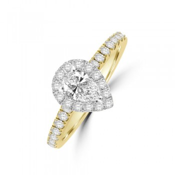 18ct Gold & Platinum Pear ESi1 Diamond Halo Ring