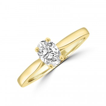 18ct Gold .50ct Oval DVS2 Diamond Solitaire Ring