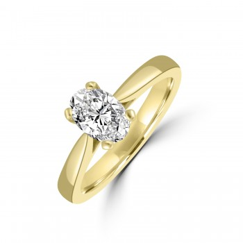 18ct Gold and Platinum .71ct EVS2 Oval Diamond Solitaire Ring