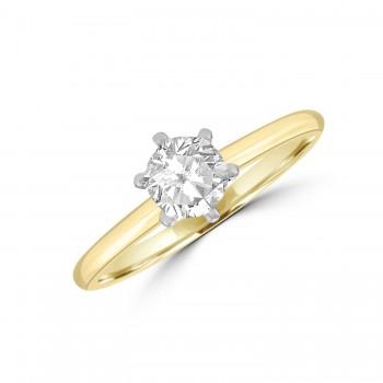 18ct Gold and Platinum .50ct Solitaire DSi1 Diamond Ring