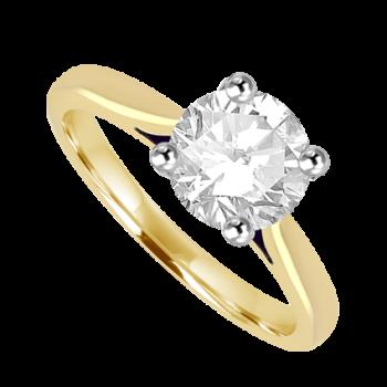 18ct Gold and Platinum Solitaire 1.32ct Diamond Ring