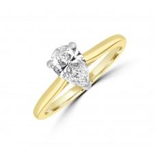 18ct Gold and Platinum .90ct Pear ESi1 Diamond Solitaire Ring