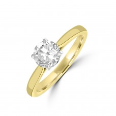 18ct Gold and Platinum DSi2 Diamond Solitaire Ring