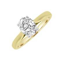 18ct Gold & Platinum Solitaire Oval FSi1 Diamond Ring