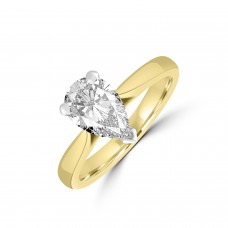 18ct Gold and Platinum Pear DSi2 Diamond Solitaire Ring