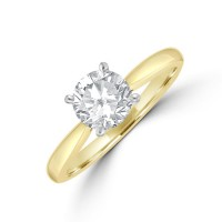 18ct Gold and Platinum 1.00ct Solitaire GSi2 Diamond Ring