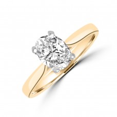 18ct Gold and Platinum .90ct Oval FSi2 Diamond Solitaire Ring