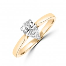 18ct Gold and Platinum .50ct Pear DSi1 Diamond Solitaire Ring