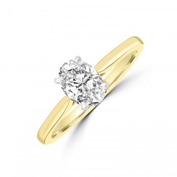 18ct Gold and Platinum 1.00ct Oval ESi2 Diamond Ring