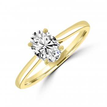 18ct Gold and Platinum Oval DSi2 Diamond Ring