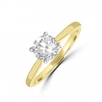 18ct Gold and Platinum Solitaire DSi1 Diamond Ring