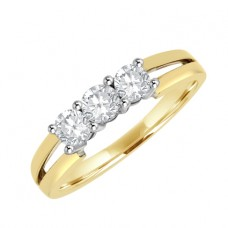 18ct Gold Three-stone Diamond Split Shank Ring