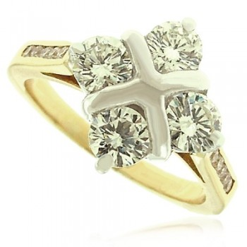18ct  Gold 4-Stone Diamond 2x2 Cluster Ring