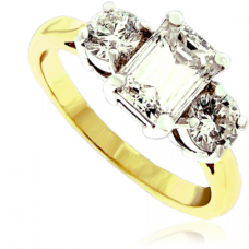 18ct Gold 3-stone Emerald cut Diamond Ring