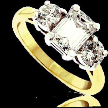 18ct Gold 3-stone Emerald cut Diamond Ring
