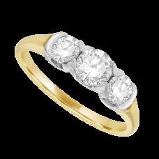18ct Gold 3-Stone Diamond Rub-over style Ring