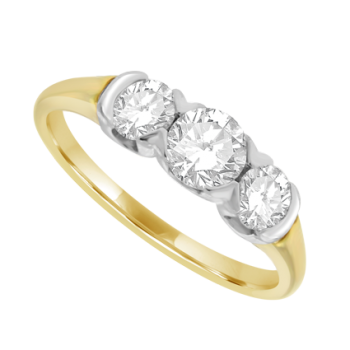 18ct Gold 3-Stone Diamond Rub-over style Ring