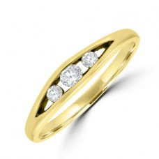 18ct Gold Three-stone Diamond Split Ring