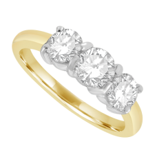 18ct Gold 3-stone 1.01ct Diamond Ring